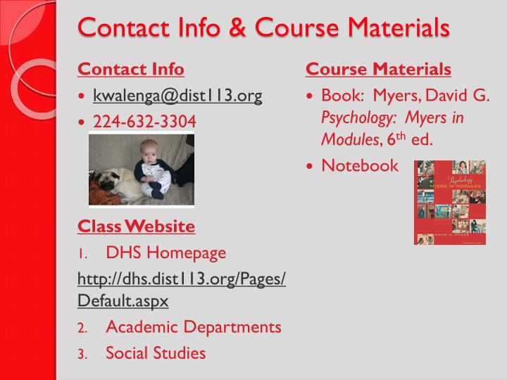 Contact info course materials