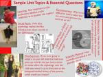 sample unit topics essential questions