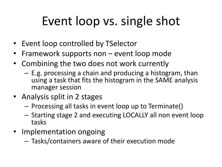 Event loop vs. single shot