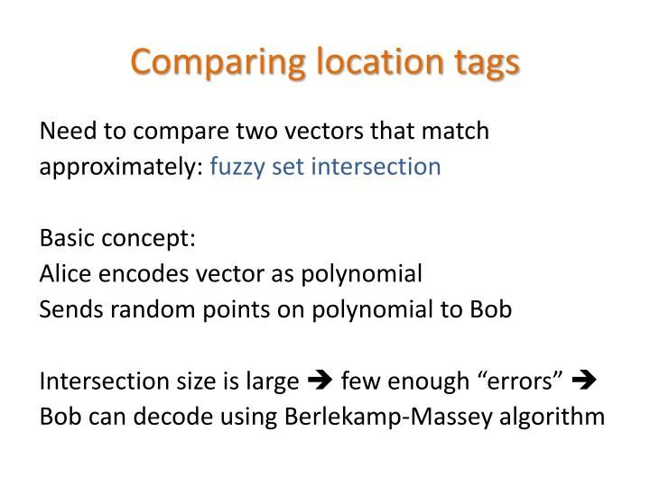 Comparing location tags