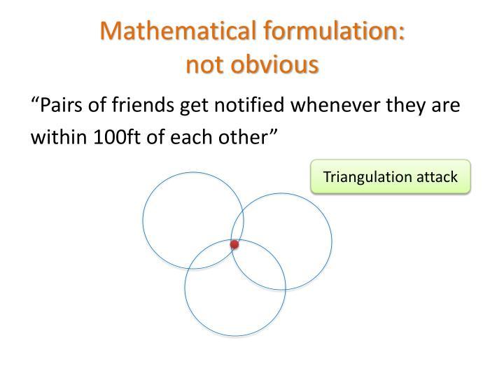 Mathematical formulation: