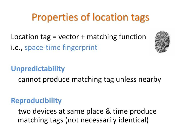 Properties of location tags