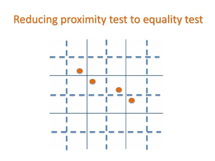 Reducing proximity test to equality test
