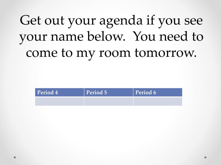 Get out your agenda if you see your name below.  You need to come to my room tomorrow.