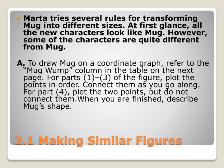 Marta tries several rules for transforming Mug into different sizes. At