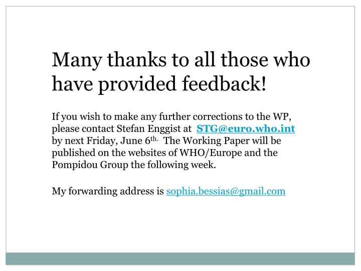 Many thanks to all those who have provided feedback!