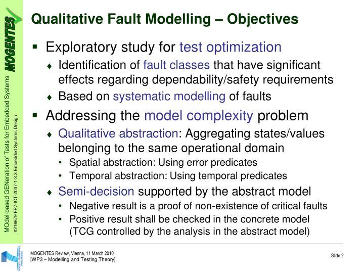 Qualitative Fault Modelling – Objectives