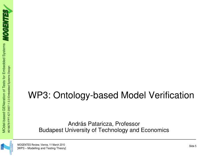 WP3: Ontology-based Model Verification