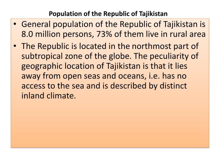 Population of the Republic of Tajikistan