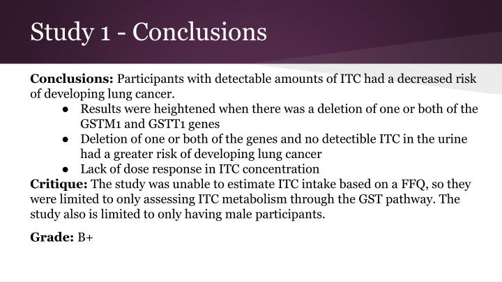 Study 1 - Conclusions