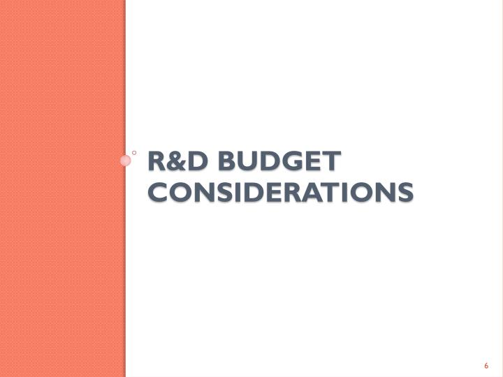R&D budget Considerations