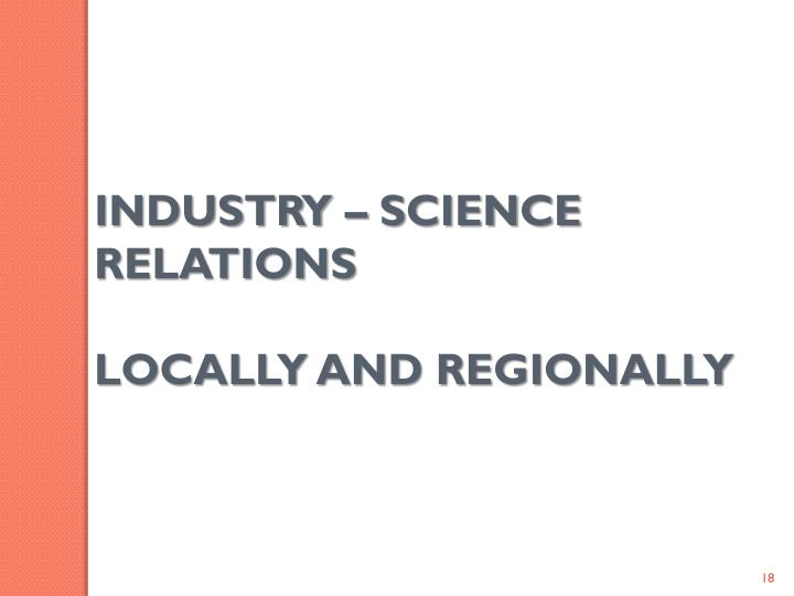 INDUSTRY – SCIENCE RELATIONS