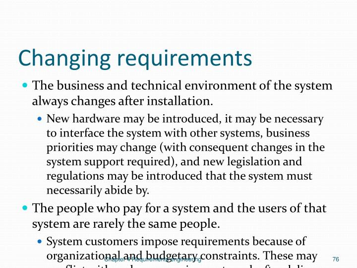 Changing requirements