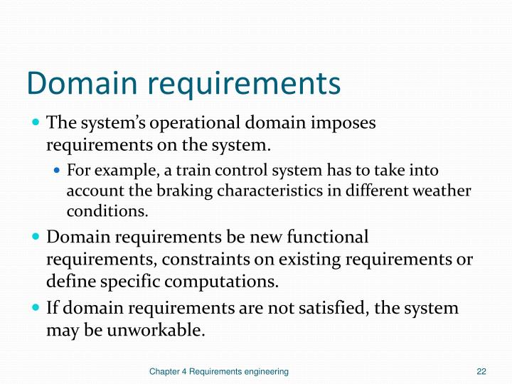 Domain requirements