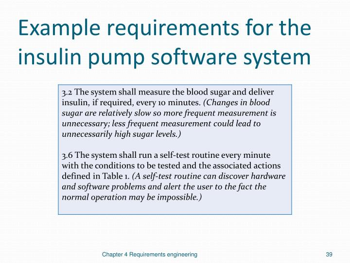 Example requirements for the insulin pump software system