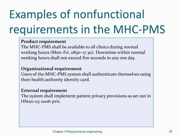 Examples of nonfunctional requirements in the MHC-PMS