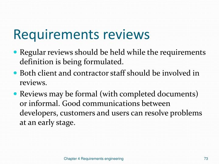 Requirements reviews