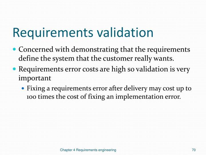 Requirements validation