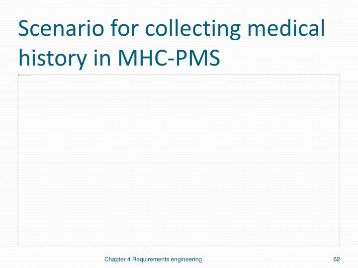 Scenario for collecting medical history in MHC-PMS