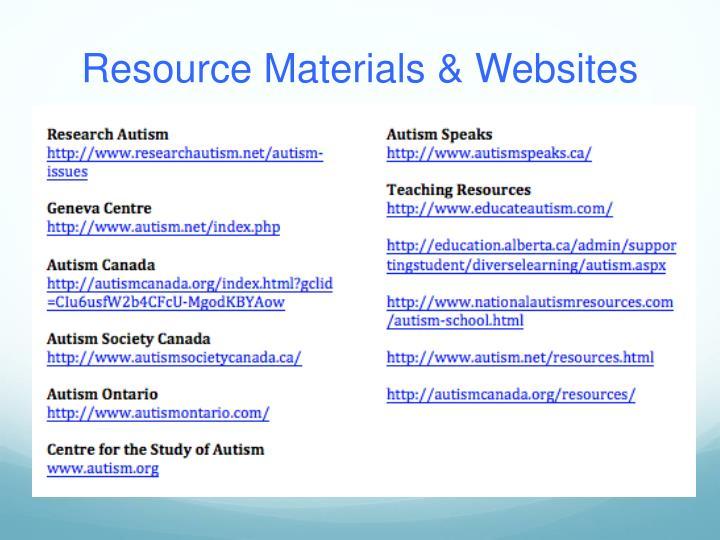 Resource Materials & Websites