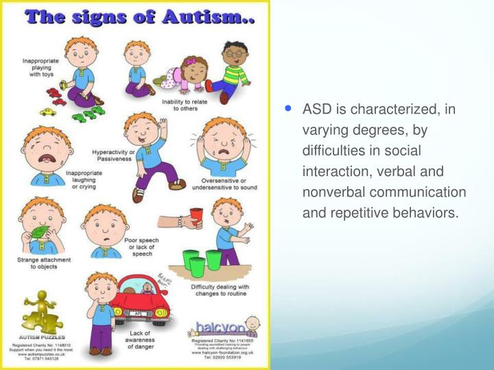 ASD is characterized, in varying degrees, by difficulties in social interaction, verbal and nonverbal communication and repetitive behaviors