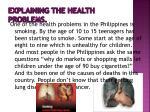 explaining the health problems