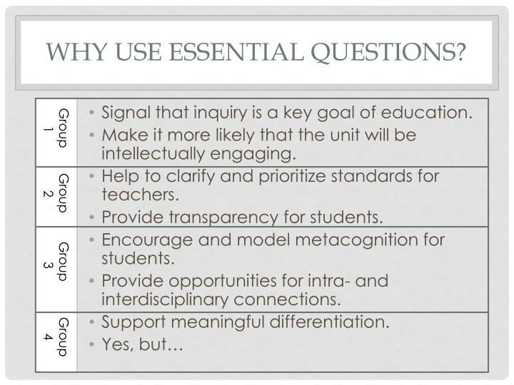 Why use essential questions?