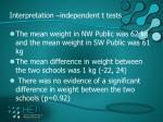 interpretation independent t tests