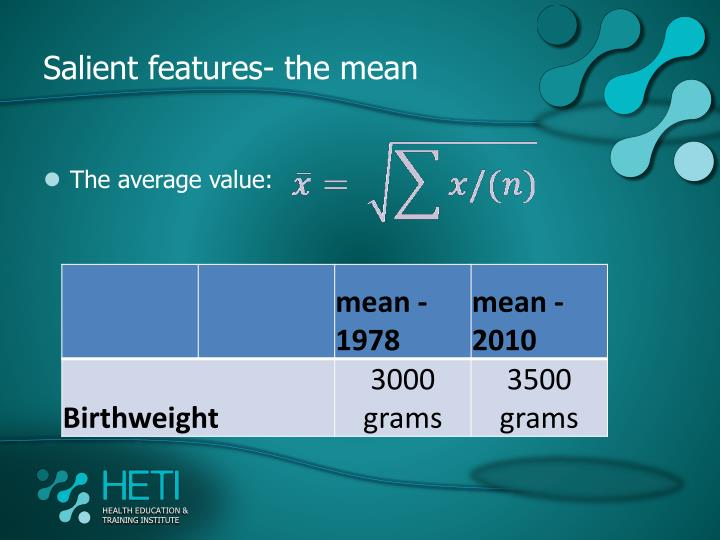 Salient features- the mean