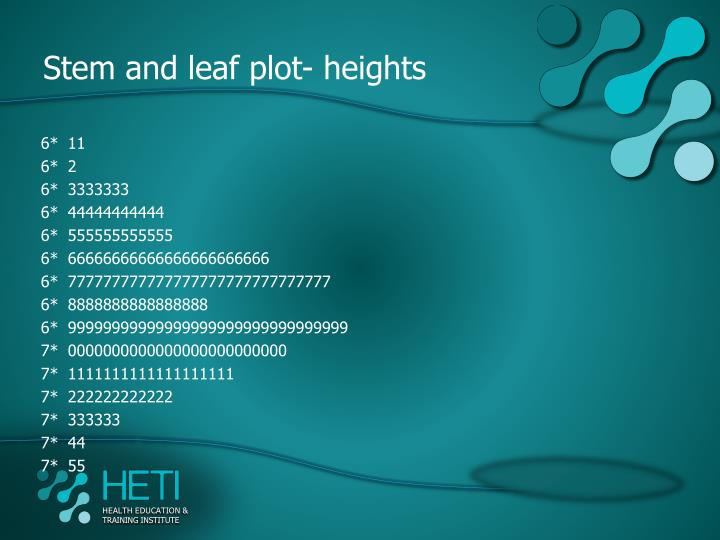 Stem and leaf plot- heights