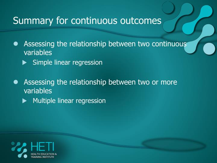 Summary for continuous outcomes