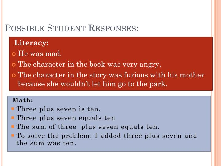 Possible Student Responses: