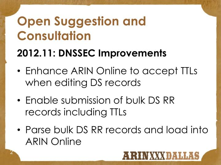 Open Suggestion and Consultation