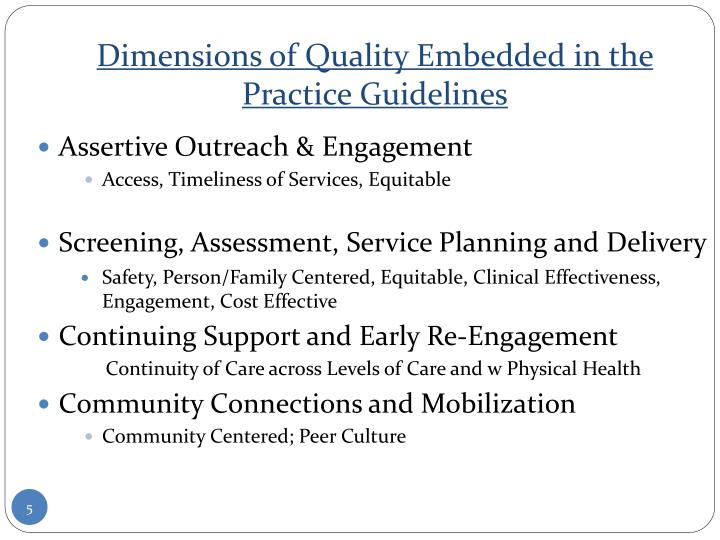 Dimensions of Quality Embedded in the Practice Guidelines