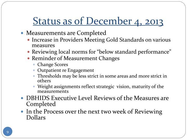 Status as of December 4, 2013