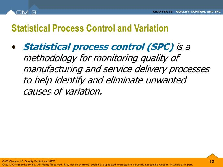 Statistical Process Control and Variation