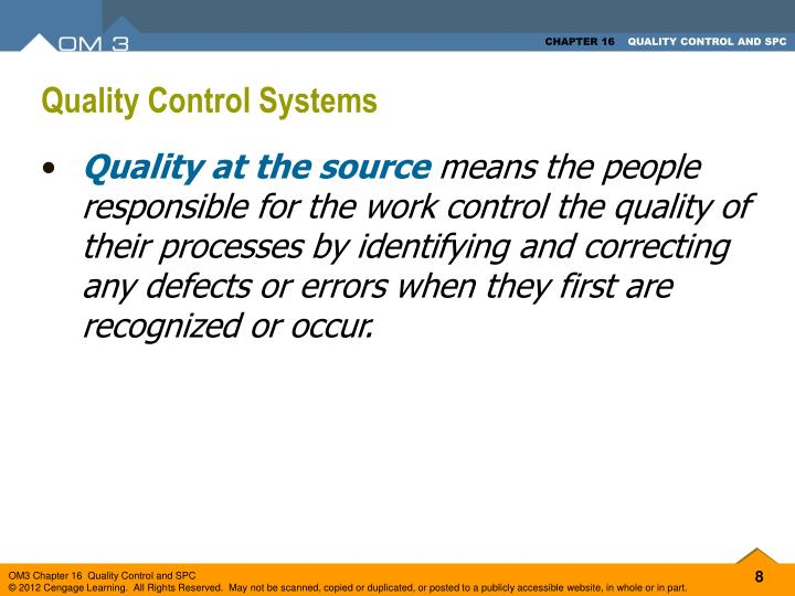 Quality Control Systems