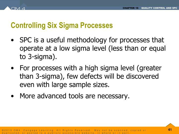 Controlling Six Sigma Processes