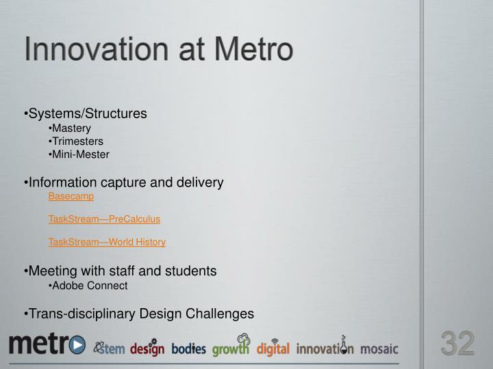 Innovation at Metro