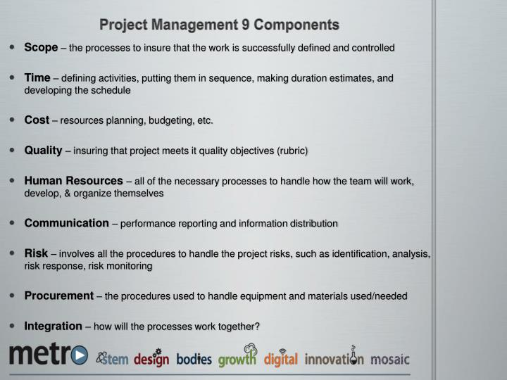 Project Management 9 Components