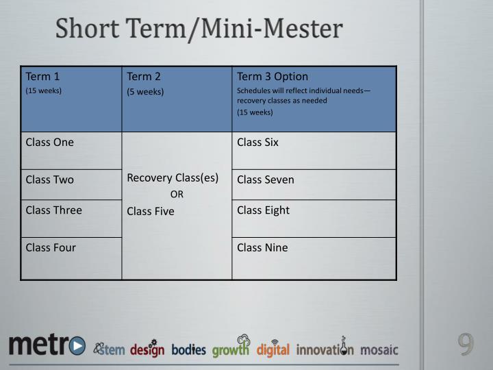 Short Term/Mini-