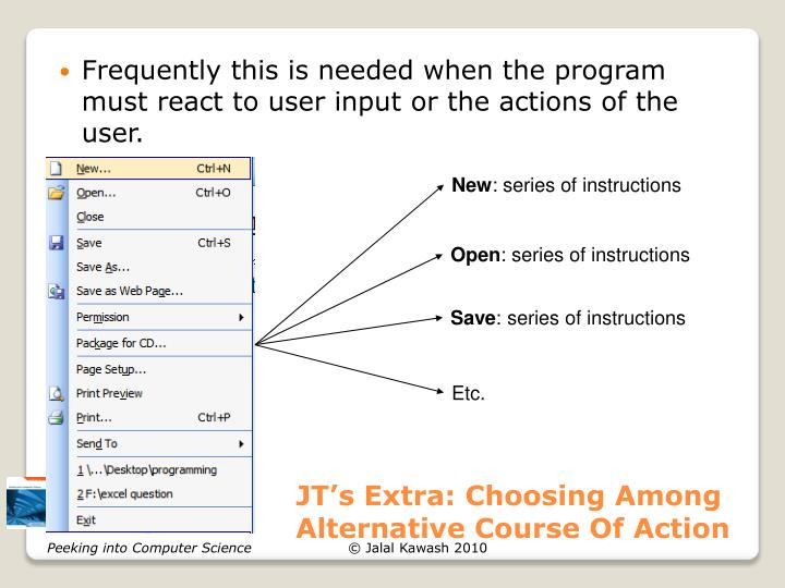 JT's Extra: Choosing Among Alternative Course Of Action
