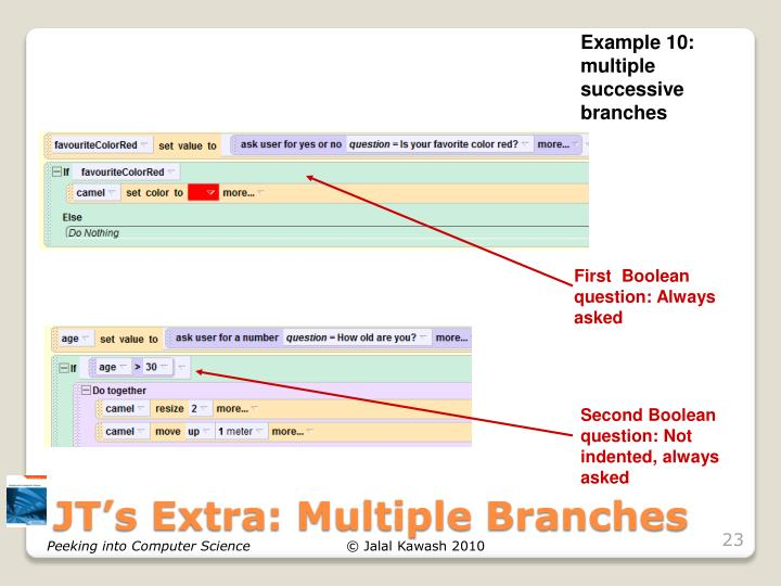 Example 10: multiple successive branches