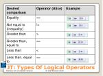 jt types of logical operators