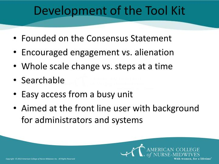 Development of the Tool Kit