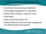 development of the tool kit