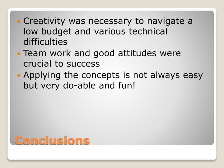 Creativity was necessary to navigate a low budget and various technical difficulties