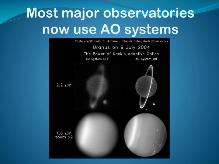 Most major observatories now use AO systems