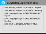 15 models explored in total