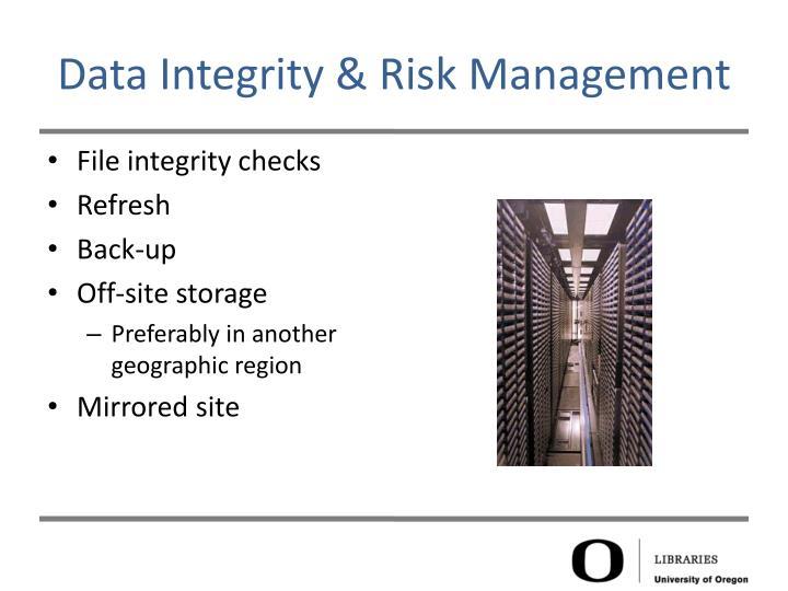 Data Integrity & Risk Management
